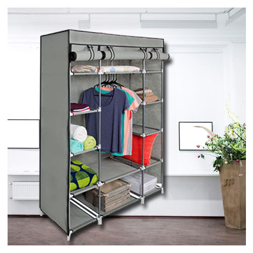 53 Portable Closet Storage Organizer Wardrobe Clothes Rack With Shelves Grey Smart Cart