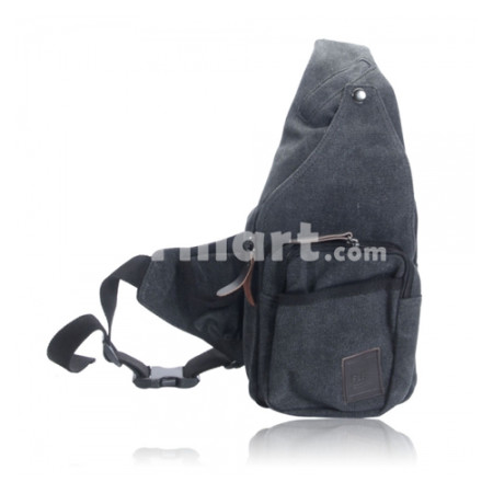 Unisex Canvas Bag Chest Bag Messenger Bag Black
