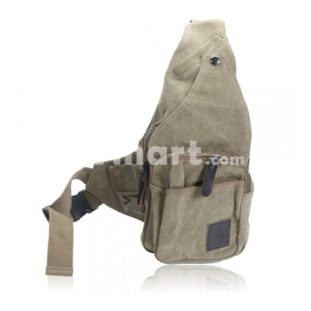 Unisex Canvas Bag Chest Bag Messenger Bag Khaki